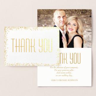 Elegant gold photo thank you foil card