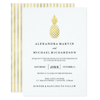 Elegant Gold Pineapple Wedding Invitation