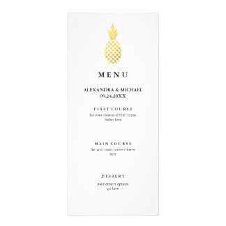 Elegant Gold Pineapple Wedding Menu Rack Card