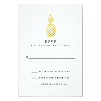Elegant Gold Pineapple Wedding RSVP Card
