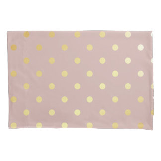elegant gold pink polka dots pillowcase