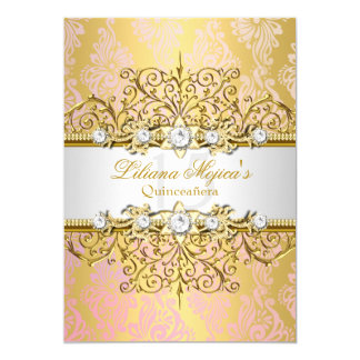 "Elegant Gold Pink Vintage Glamour Quinceanera 5"" X 7"" Invitation Card"