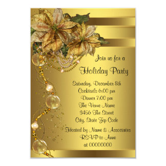 Elegant Gold Poinsettia Gold Christmas Party Card