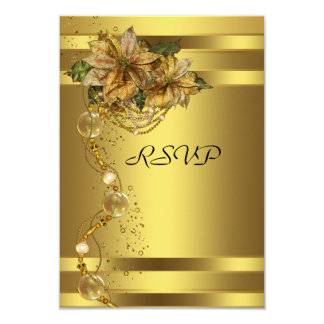 Elegant Gold Poinsettia Gold Christmas Party RSVP Card