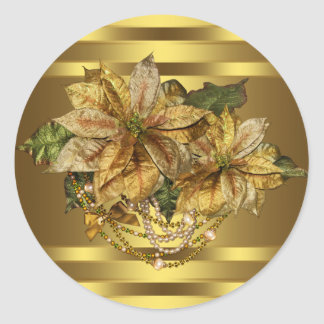 Elegant Gold Poinsettia Stickers