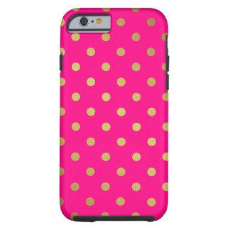 Elegant Gold Polka Dots Pattern Stylish Hot Pink Tough iPhone 6 Case