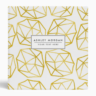 Elegant Gold Polygonal Unique Geometric Pattern Vinyl Binders