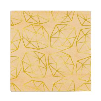 Elegant Gold Polygonal Unique Geometric Pattern Wood Coaster
