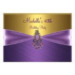 Elegant Gold Purple Bead Jewel 40th Birthday Personalized Invitation