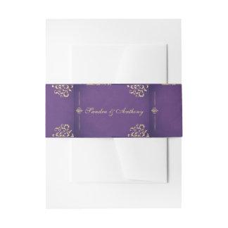 Elegant Gold & Purple Damask wedding Belly Band Invitation Belly Band