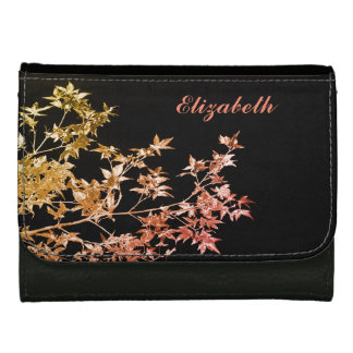Elegant Gold Red Fall Leaves Personalized Name Wallets