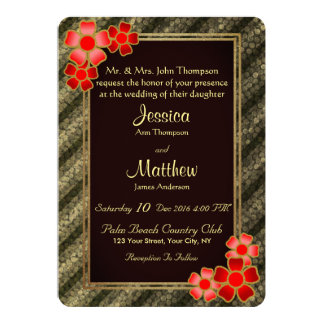 Elegant Gold Red Floral Striped Wedding Invitation