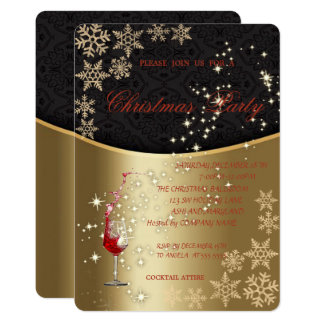 Elegant Gold Red Glass,Corporate Christmas Party Card
