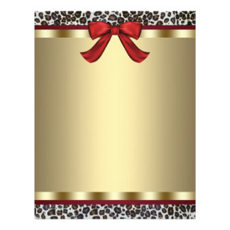 Elegant Gold Red Leopard Letterhead Flyer