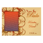 """Elegant Gold Red """"Save the Date"""" Flourish Cards Custom Announcements"""