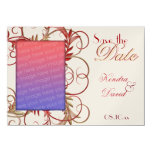 "Elegant Gold Red ""Save the Date"" Flourish Cards Custom Announcements"