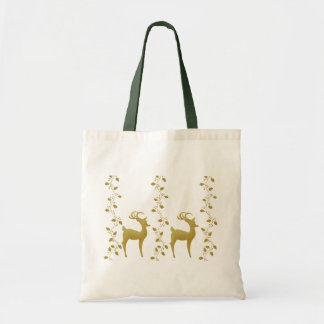Elegant gold reindeer Christmas holiday gifts bag
