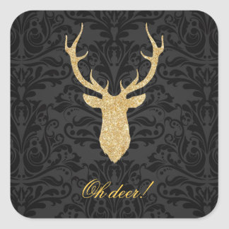 Elegant Gold Reindeer Head Silhouette Black Damask Square Sticker