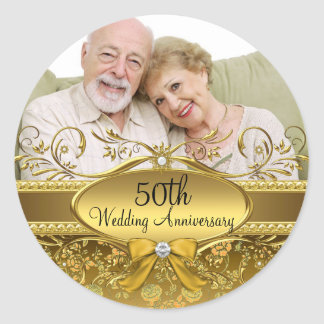 Elegant Gold Rose Photo 50th Anniversary Sticker