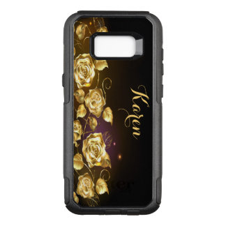 Elegant gold roses on black and purple OtterBox commuter samsung galaxy s8+ case