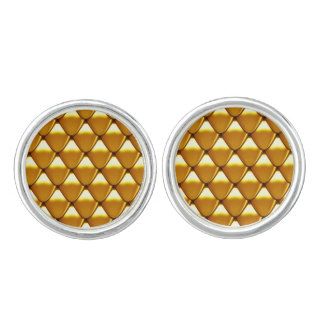Elegant Gold Scale Pattern Cufflinks