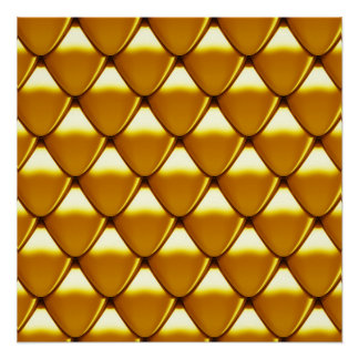Elegant Gold Scale Pattern Perfect Poster