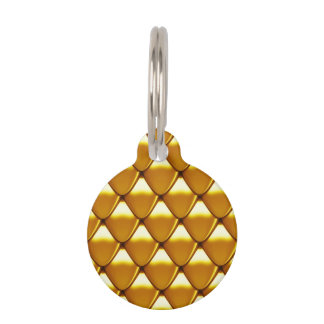 Elegant Gold Scale Pattern Pet Name Tag