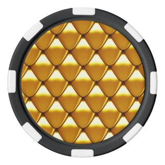 Elegant Gold Scale Pattern Poker Chips