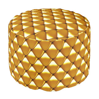Elegant Gold Scale Pattern Pouf