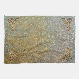 Elegant Gold Scrolls | Silver Gold Metal Look Kitchen Towel