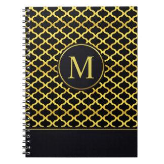 Elegant Gold Seamless Monogram   Guest Book