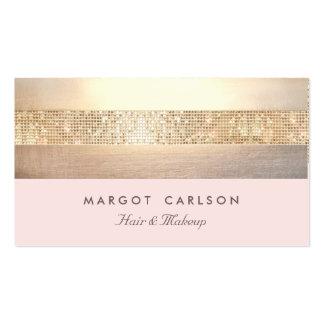 Elegant Gold Sequins Light Pink Striped *NO SHINE Business Card Template