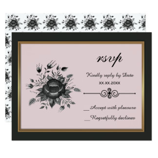 Elegant Gold & shades of Grey RSVP Card