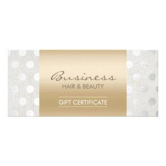 Elegant Gold & Silver Dots Salon Gift Certificates Rack Card Design
