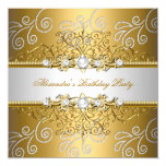 Elegant Gold Silver Lace Diamond Overlay Party 5.25x5.25 Square Paper Invitation Card