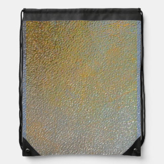 Elegant Gold Silver Pitted Metal Texture Look Drawstring Backpacks