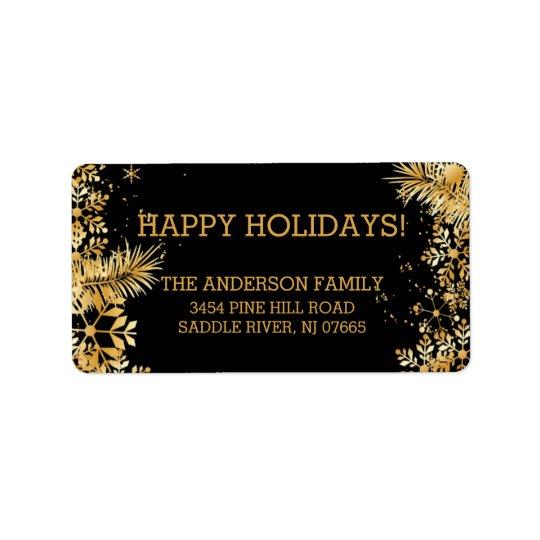 Elegant Gold Snowflakes Christmas Return Address Label