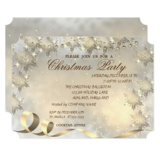 Elegant Gold Snowflakes ,Corporate Christmas Party Card