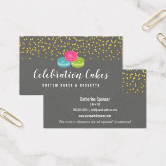 Elegant Gold Sprinkles Macaron Bakery Business Card