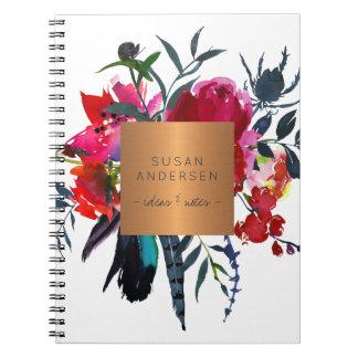 Elegant gold steel copper metallic red navy floral notebook