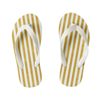 Elegant Gold Stripe -Custom Your Color- Kid's Flip Flops