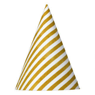 Elegant Gold Stripe -Custom Your Color- Party Hat