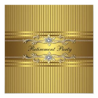 "Elegant Gold Stripe Retirement Party 5.25"" Square Invitation Card"