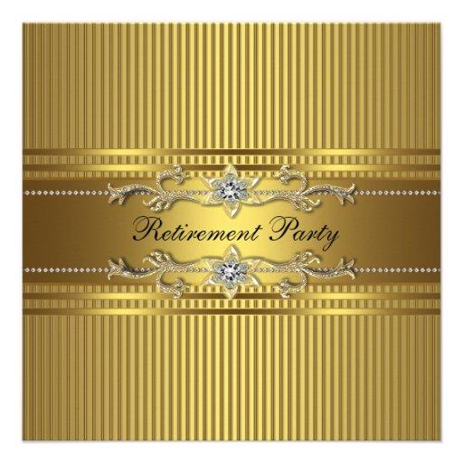 Elegant Gold Stripe Retirement Party Custom Invite