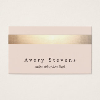 Elegant Gold Striped (no shine) Modern  Light Pink Business Card