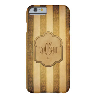 Elegant Gold Stripes and Label with Monogram Barely There iPhone 6 Case