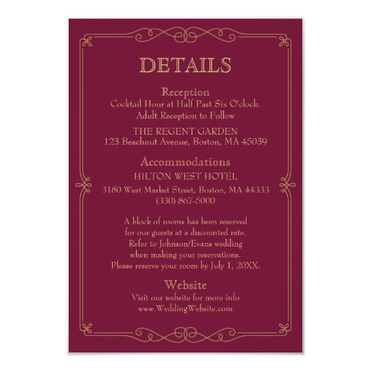 Elegant Gold Swirl Modern Wedding Details Card