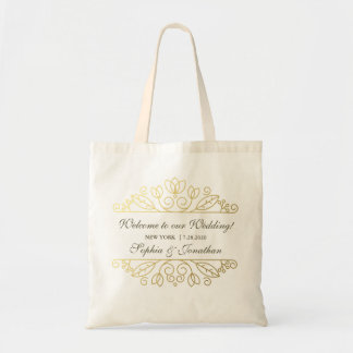 Elegant Gold Swirl Wedding Welcome Hotel Gift Bag