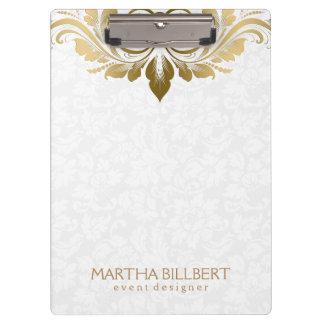 Elegant Gold Swirly Lace On Plush White Damasks Clipboard