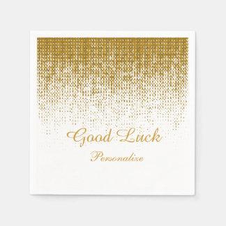Elegant Gold Texture Print on White Background Paper Napkins